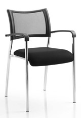 Stackable Chrome Meeting Chair - Black