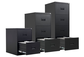 Mod Black Steel Filing Cabinets - Two Drawer