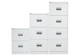 Mod White Steel Filing Cabinets - Two Drawer