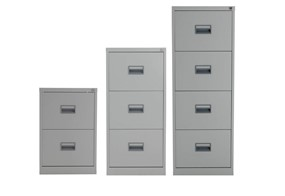Mod Grey steel Filing Cabinets - Two Drawer