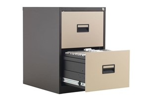 Mod Brown Steel Filing Cabinets - Two Drawer