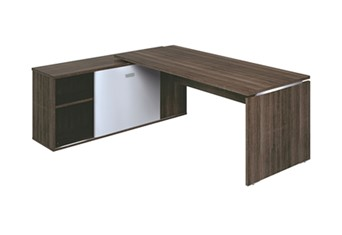 Mokka Rectangular Desk With Return - Royal Brown Oak 1820 mm Wide