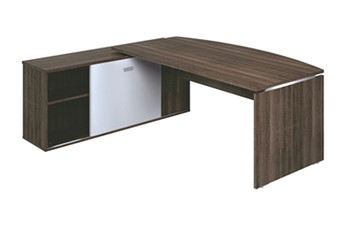 Mokka Curved Desk With Return - Royal Brown Oak