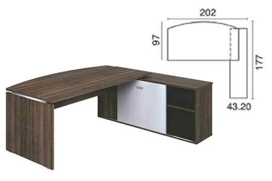 Mokka Curved Desk With Return