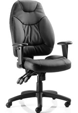 Thor High Back Chair - Black Leather