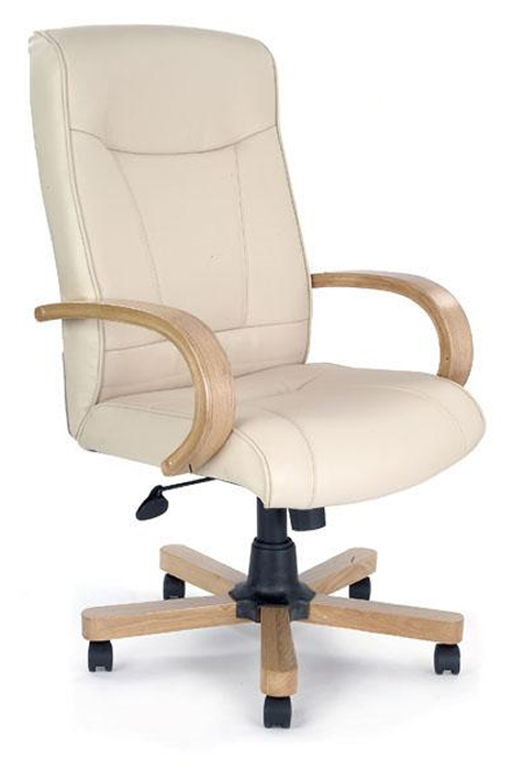 Cream Leather Office Chair Oak