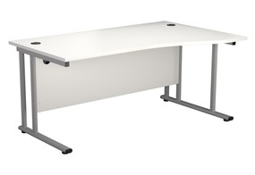 Kestral White Wave Cantilever Desk - Right Handed 1600mm x 800mm