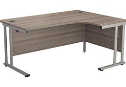 Hawk Grey Oak Cantilever Crescent Workstation