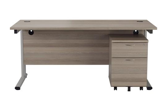 Kestral Grey Oak Promo Desk And Pedestal