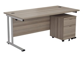 Kestral Grey Oak Promo Desk And Pedestal