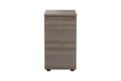 Kestral Grey Oak 3 Drawer Desk High Pedestal