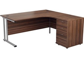 Kestral Dark Walnut Promo Desk And Pedestal