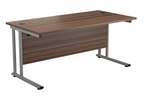 Kestral Dark Walnut Rectangular Cantilever Desk - 1200mm Silver 600mm