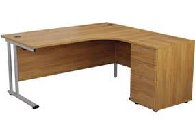 Kestral Light Walnut Crescent Desk And Pedestal