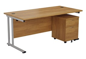 Hawk Light Walnut Promo Desk And Pedestal