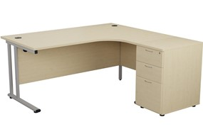 Kestral Maple Crescent Desk And Pedestal