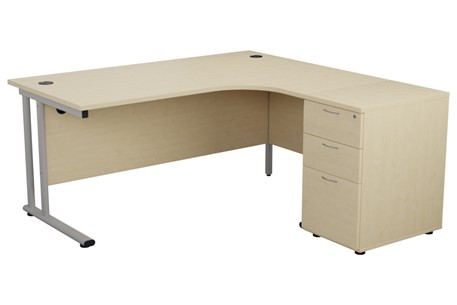 Kestral Maple Corner Desk And Pedestal
