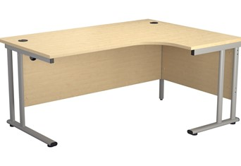 Kestral Maple Cantilever Crescent Workstation - Right Handed 1600mm Silver