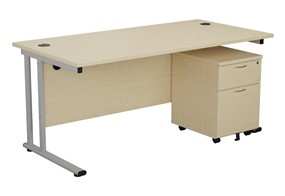 Kestral Maple Promo Desk And Pedestal