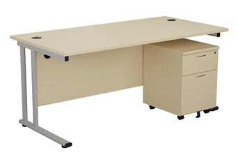 Kestral Maple Promo Desk And Pedestal - 1200mm 2 Drawer Option Silver