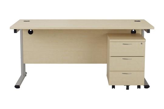 Kestral Maple Promo Desk And Pedestal
