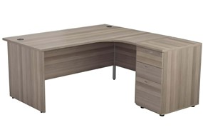 Kestral Grey Oak Panel Desk And Pedestal
