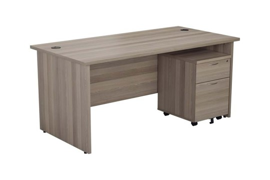 Kestral Grey Oak Panel Promo Desk And Pedestal