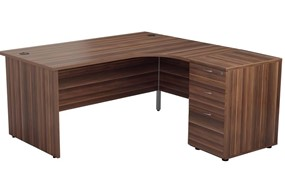 Kestral Dark Walnut Panel Desk And Pedestal