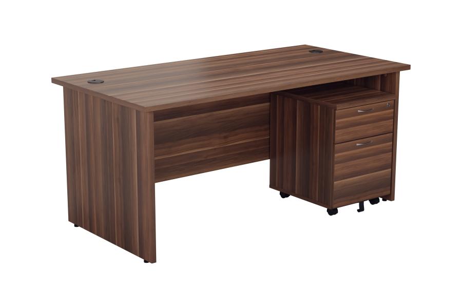 Kestral Dark Walnut Panel Promo Desk And Pedestal