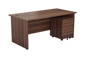 Kestral Dark Walnut Panel Promo Desk And Pedestal