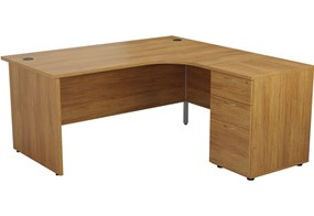 Kestral Light Walnut Panel Desk And Pedestal
