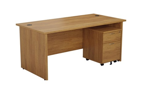 Kestral Light Walnut Panel Promo Desk And Pedestal