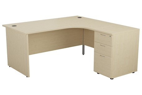 Hawk Maple Panel Desk And Pedestal