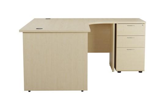 Kestral Maple Corner Panel Desk And Pedestal