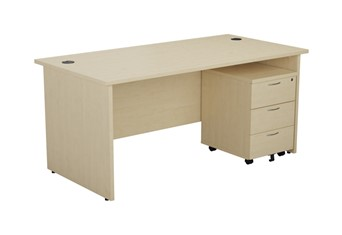 Kestral Maple Panel Promo Desk And Pedestal - 1200mm 2 Drawer Option