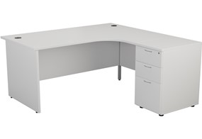 Kestral White Panel Desk And Pedestal