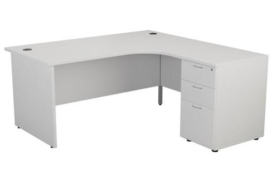 Kestral White Panel Desk And Pedestal