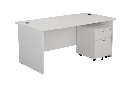 Kestral White Panel Promo Desk And Pedestal