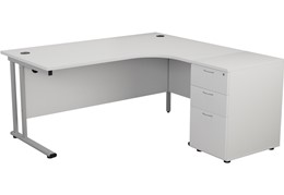 Hawk White Crescent Desk And Pedestal