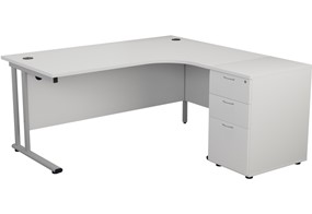 Kestral White Crescent Desk And Pedestal