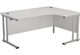 Hawk White Cantilever Crescent Workstation