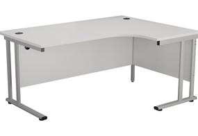Kestral White Cantilever Crescent Workstation - Right Handed 1600mm Silver