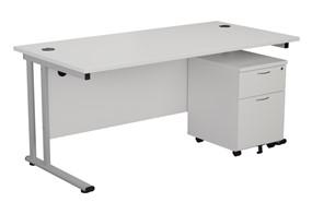 Kestral White Promo Desk And Pedestal