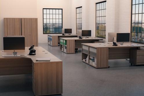 Kestral Grey Oak D-End Bench Desk