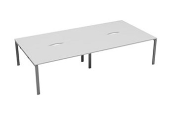 Kestral White 4 Person Bench Desk - 1200mm Silver