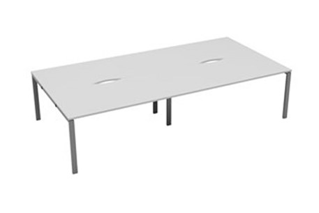 Kestral White 4 Person Double Bench Desk