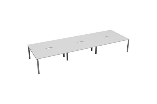 Kestral White 6 Person Double Bench Desk