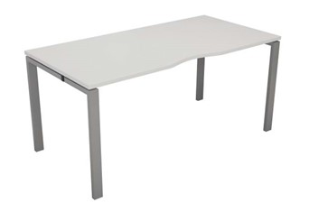 Kestral White Single Bench Desk - 1200mm Silver