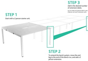 Kestral  White 2 Person Bench Extension - 1200mm Silver