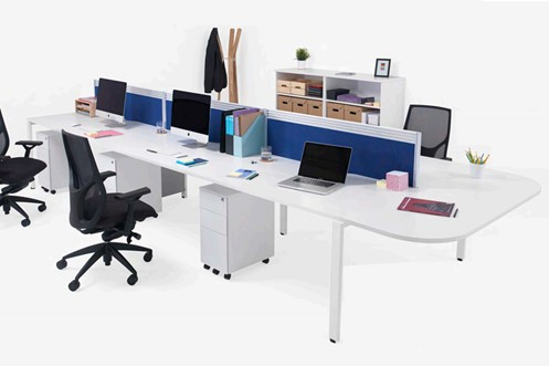 Kestral White D-End Bench Desk